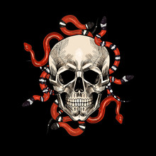Skulls With Snakes And Roses. ...