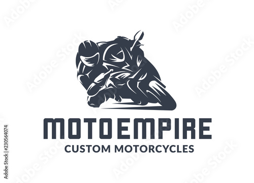 Fotografie, Obraz Racing motorcycle logo on black background