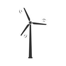 Wind Turbine Icon. Vector Illustration Isolated On White Background.