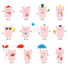 Pig Set. Cute Funny Cartoon Ch...