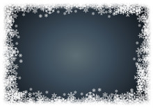 Vector Winter Background. A Cold Christmas. Frame Made Of Snowfall And Ice Crystals