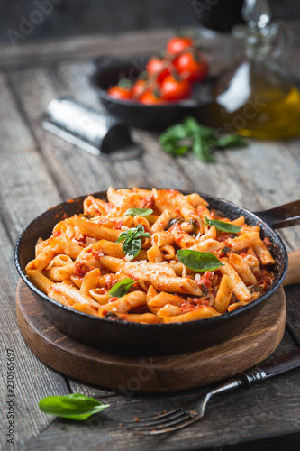 Penne pasta in tomato sauce