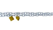 Two Horizontal Metal Chains Locked With Two Padlocks