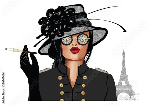 Photo sur Toile Art Studio Woman with sunglasses and hat