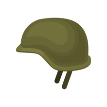 Green Military Helmet. Solid Headgear. Protective Equipment For Soldier Or Officer. Item For Personal Safety. Flat Vector Design