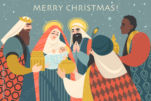 Cuadros en Lienzo Christmas card in retro style with three kings bringing gifts to Jesus