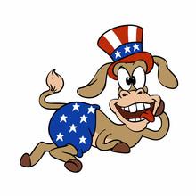 Happy Democratic Donkey Vector Illustration