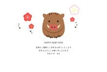 2019年 平成31年 亥 年賀状 テンプレート