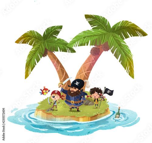 Fotografie, Obraz  isla con piratas niños