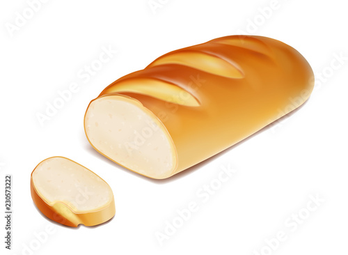 Stampa su Tela White bread loaf sliced bakery product icon realistic