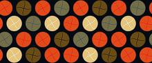 Graphic Square Vortex Balloons Seamless Pattern In Autumn Orange Shades