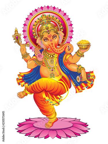 Fotografie, Obraz  Vector Ganesha on a white background