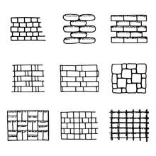 Paving Tiles Icons Set. Isolat...