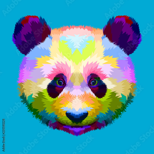 фотография  colorful panda head on geometric pop art style