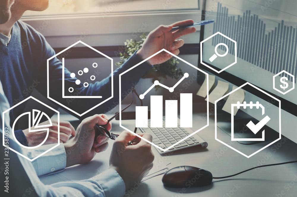 Fototapeta business analytics intelligence concept, financial charts to analyze profit and finance performance of company