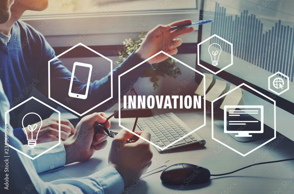 Fototapeta innovation technology for business, innovative idea, concept with icons