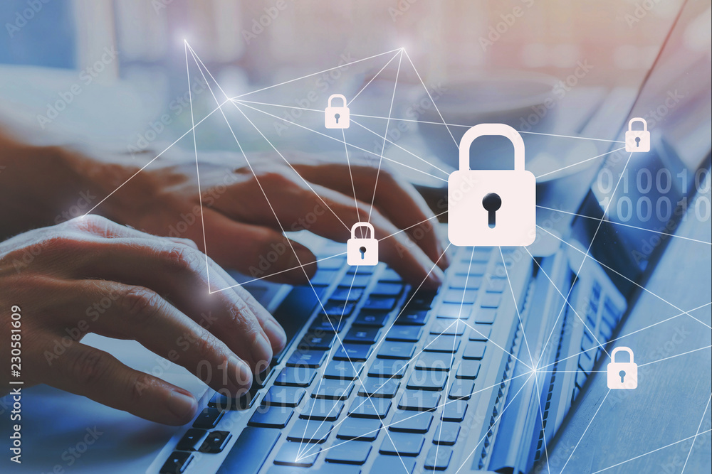Fototapeta internet security and data protection concept, blockchain and cybersecurity