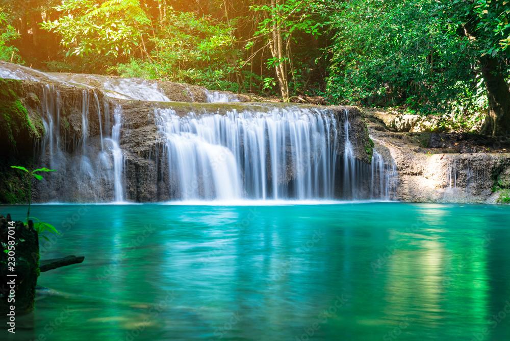 Fototapeta Erawan waterfall at tropical forest of national park, Thailand