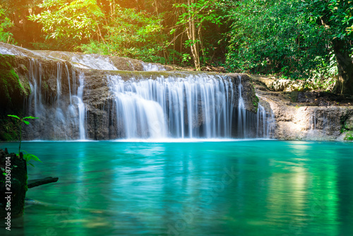 Foto op Canvas Watervallen Erawan waterfall at tropical forest of national park, Thailand
