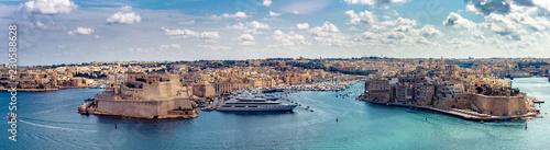 Panorama Fort St Angelo Vittoriosa und Senglea grand Harbour Canvas-taulu