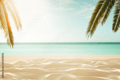 Fotografia  Empty, defocused tropical beach background with copy space