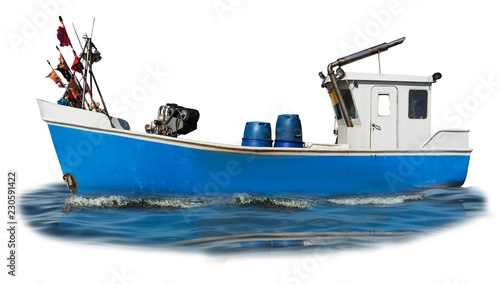Baltic Sea. The fishing boat with the blue plastic case and the white cabin. Isolated photo. Site about fishermen, shipbuilding, romance, industry.