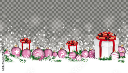 Christmas Header Transparent.Gray Christmas Card Header Gray Snowflakes Baubles Gifts