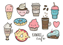 Kawaii Cafe. Various Cute Food. Hand Drawn Colored Vector Set. All Elements Are Isolated