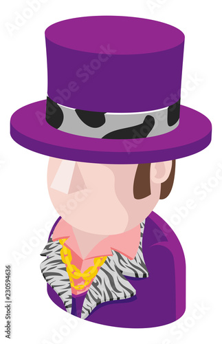 Fotografia, Obraz  A Purple Suit Man avatar cartoon person icon emoji