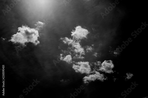 Fototapety, obrazy: White fluffy clouds in the sky, black and white photo