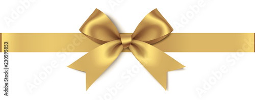 Decorative golden bow with horizontal ribbon isolated on white background Tapéta, Fotótapéta