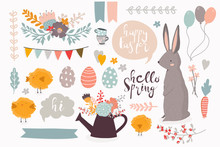 Happy Easter. Hello Spring. Colored Vector Set Of Various Objects