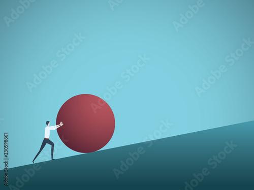 Fotografie, Obraz Businessman pushing ball uphill vector concept