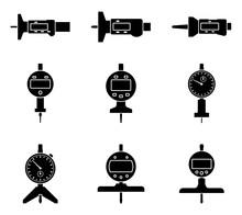 Dial And Digital Depth Gauge. Measuring Instrument. Silhouette Vector