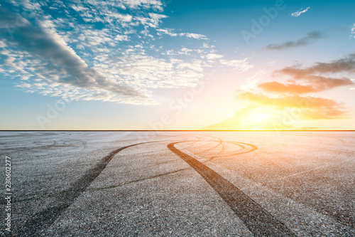 Wall Murals F1 Car track square and sky beautiful cloud scenery at sunset