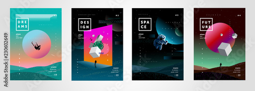 Fototapeta Set of vector abstract gradient illustrations,  backgrounds for the cover of magazines about dreams, future, design and space, fancy, crazy posters obraz