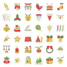 Christmas Ornaments Icon Set, Flat Design Vector For Use As Sticker