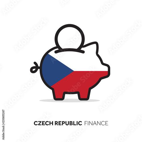 Photo  Czech Republic economic concept. Piggy bank with national flag.