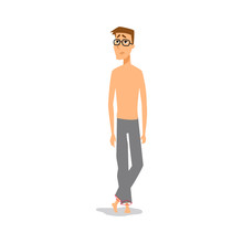 Weak Nerd Man Shirt Less With Sad Looking In His Face Vector Art Illustration