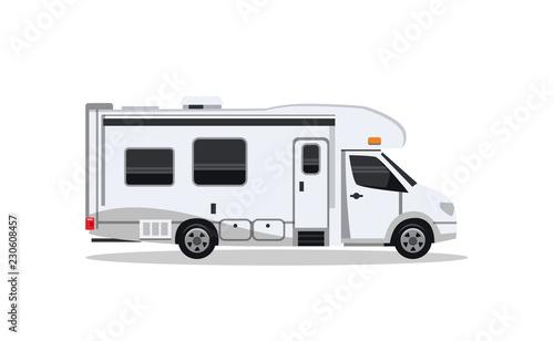 Tela Camper van for travel flat illustration