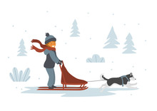 Cute Girl Dog Sledding Isolate...