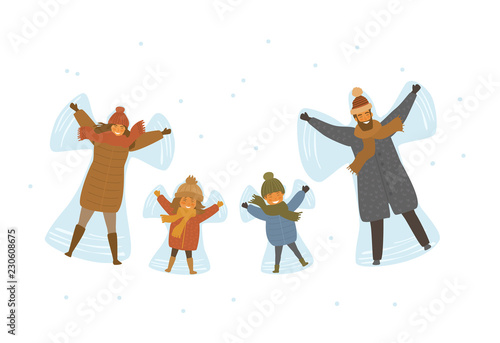 Fényképezés  cute cartoon family, parents and children making snow angel in snow isolated vec