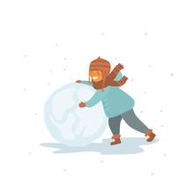 Cute Child Making A Snowball I...
