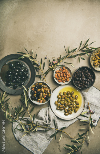 Flat-lay of various kinds of Mediterranean pickled olives in plates and olive tree branches over grey concrete table background, top view, copy space. Mediterranean meze appetizer