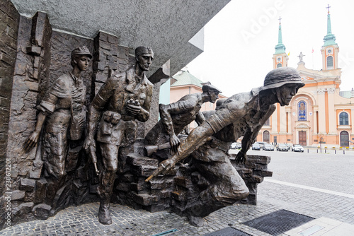 plakat Part of the Warsaw Uprising Monument, a memorial dedicated to the Warsaw Uprising of 1944, in Warsaw, Poland