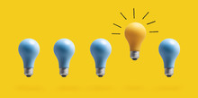 One Outstanding Idea Concept With Light Bulbs On A Yellow Background