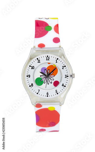 Plastic wrist watch isolated with clipping path