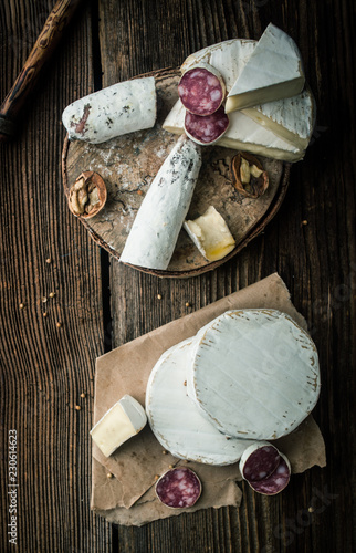 Camembert cheese with salami