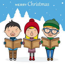 Christmas Card. Children With Books Singing Christmas Songs.