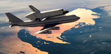 Space Shuttle And Plane Fly In Space Over Earth Atmosphere, Elements Of This Image Furnished By NASA F